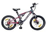 VTT Mountain Bike da 20', Ammortizzata, per Bambini, Atlas con Doppio Freno a Disco, 6 velocità, con Maniglia Revoshift, Ruota Libera e deragliatore Shimano.