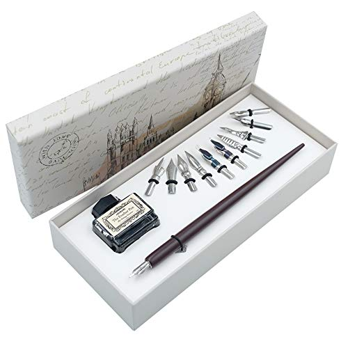 Bolígrafo de madera para escritura de caligrafía, 11 puntas diferentes, 1 botella de tinta