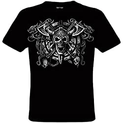 DarkArt-Designs Viking Skull - Camiseta de Viking para hombres y mujeres - Heavy Metal Estilo de vida T-Shirt regular fit, negro, XXL