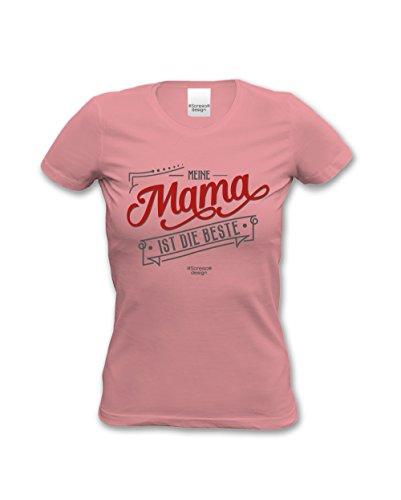 Meine Mama ist die Beste Damen-Teenager-Girlie-Fun-T-shirt für die liebste Mutter als Top Geschenk - Farbe: rosa Rosa