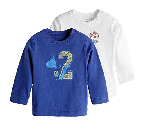 ESPRIT Baby - Jungen Langarmshirts 095EEBN003, 2er Pack, Gr. 86, Blau (BLUE 430)