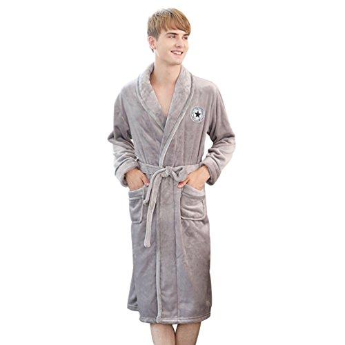 YiLianDa Supermorbido Vestaglia Manica Lunga Abbigliamento Da Notte Grigio(Uomo)