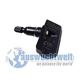 CUB Reifendrucksensor, Universal Sensor, Programmierbarer Uni TPMS RDKS Sensor mit Alu-Ventil Schwarz