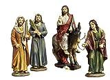 Paben Articoli Religiosi Set 4 Statue Gesù Ingresso a Gerusalemme, Presepe Pasquale Pasqua, Cm.14