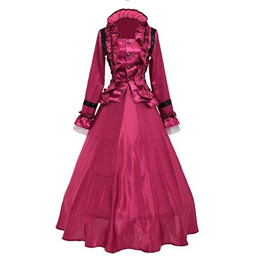 ch Nachstellung Theater Ball Kleid Kostüme mit Krinoline (Lila Rot) (Plus Größe Renaissance Kostüme Für Frauen)