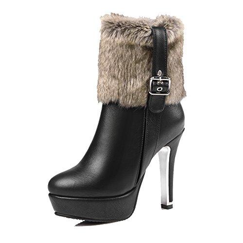 AllhqFashion Damen Hoher Absatz Rein Spitz Zehe Blend-Materialien Reißverschluss Stiefel,Rot,38