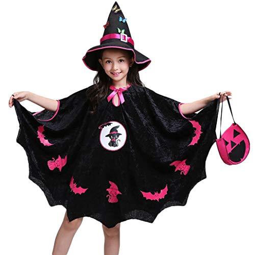 (Babykleider,Sannysis Kinder Baby Mädchen Halloween Kostüm Kleid Party Mantel + Hut Outfit + Kürbis Tasche (130, Schwarz))