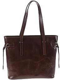 Chiarugi Sac en cuir italien grand sac shopping - Marron