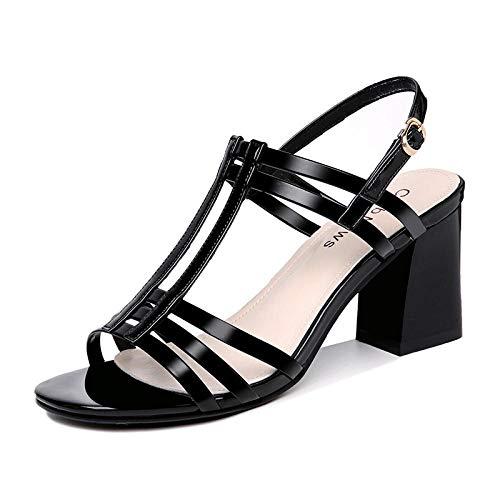 Patent Chunky Heel Sandal (Damen-Sandalen Damen-Zehentrenner Sandalen Damen mit Absat Sandalen Hohe Damen Sandalen Dick Mit Damen Sandalen Sommer Schuhe High Heel Damen Schuhe Sommer @ 34)