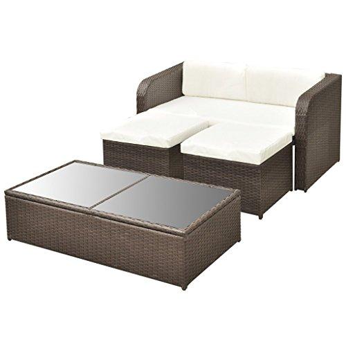 vidaXL 9-tlg. Gartenmöbel-Lounge-Set Sofa-Set Poly Rattan Braun - 5