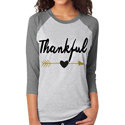 T-Shirt, Yogogo Frauen-T-Stück-Buchstabe-Pfeil druckte Dreiviertel-Hülsen-Spleissen-Oberseite Grau