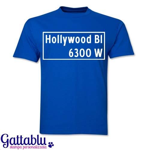 T-shirt uomo Hollywood Bl 6300 W, segnale stradale Los Angeles inspired! PERSONALIZZABILE con il nome della strada, del quartiere o della città che preferisci!