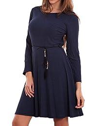5dd314f44107 Toocool - Vestito Donna Miniabito Corto Costine Svasato Manica Lunga  Leggero Nuovo CJ-2525