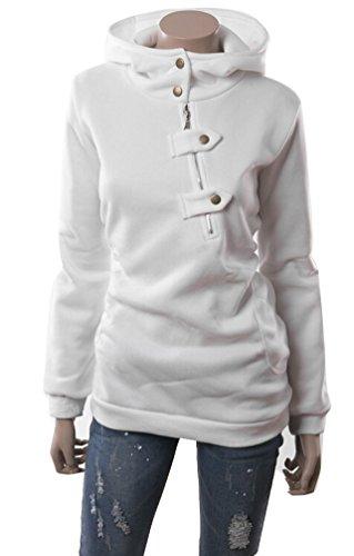Brinny Hoodie Sweatshirt Hoodie Sweat à capuche Tops pour Femme Automne Hiver Blanc