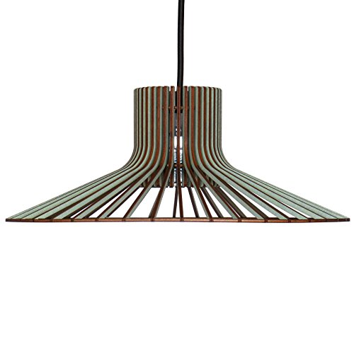 Lampe suspendue à tapas en bois - Plafonnier design moderne - 8 couleurs disponibles, Eisblau, E27 60.0 wattsW