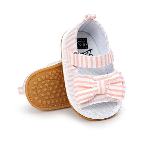 Baby Mädchen Sandalen Bowknot Sommer Schuh-Turnschuh Anti-Rutsch Weiches Sole für Kleinkind 0-18 Monate (0-6 Monate, Rosa)