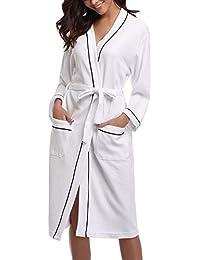 Sykooria Femme Peignoir de Bain Waffle Kimono Tissage Gaufré Coton Peignoir de Bain Waffle Robe de Chambre