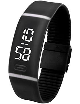 Sunnywill Unisex Kautschuk Armband LED Digital Sport Armbanduhr Datum Display schwarz