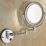 WU Kupferner kosmetischer Spiegel führte Lichter 6Inch Kreativität Badezimmer-Spiegel Doppelseitiger 3mal Vergrößerungsspiegel 360 Grad-drehender Spiegel-Silber-Badezimmer-Spiegel-Haushalts-Badezimm