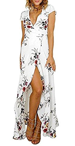 Arrowhunt Women's Floral Tie Waist Split Wrap Flowy Party Long Beach Maxi Dress White