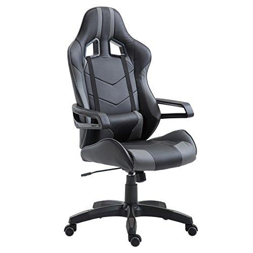 CARO-Möbel Gaming Drehstuhl Play Lederimitat in schwarz/grau Bürostuhl Schreibtischstuhl Chefsessel Racer, höhenverstellbar Wippmechanik