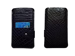 ATV Genuine Leather BLACK Designer Pouch Case Cover For Lava Iris Fuel 60