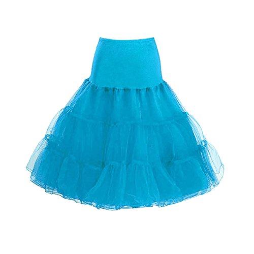 "IMUYI Les années 1950 Vintage Femmes Retro Underskirt Tutu Jupe 26 ""Longueur Petticoat Lake Blue"