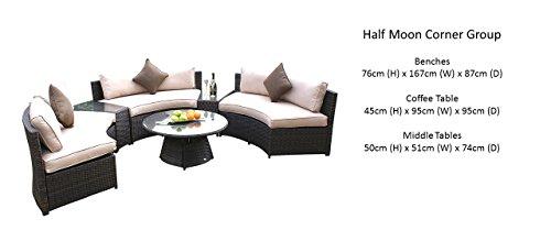 Maze Rattan Half Moon Sofa Set In A Mixed Brown Weave