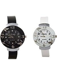 Swadesi Stuff Glory Combo Of Two-Black And White Glory Circular Dial Watch For Women