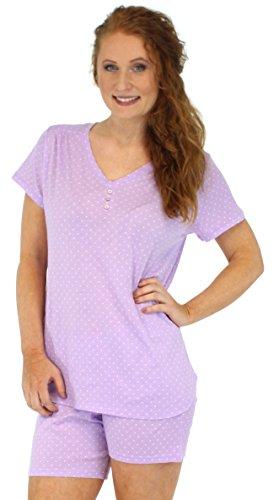 Sleepyheads Ensemble de pyjama femme à manches courtes et short coton vêtement de nuit Lavande avec Pois Blancs