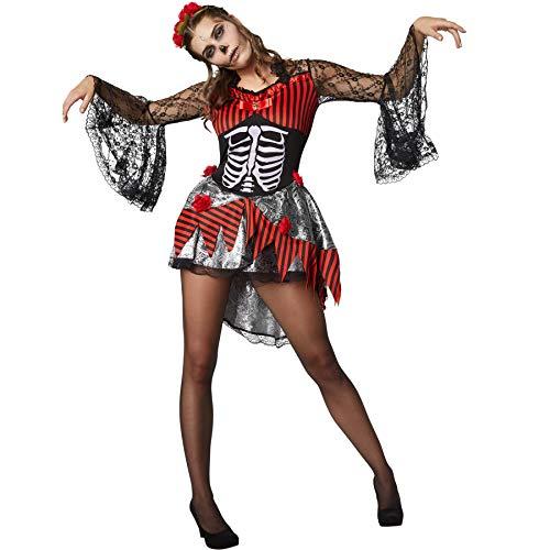 dressforfun 900415 - Damenkostüm gruselige Tänzerin, Kurzkleid mit Knochenaufdruck und Totenkopf (M | Nr. 302001)