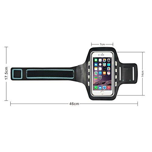 iProtect Sportarmband Apple iPhone 6, 6s (4,7 Zoll) Running Case Laufarmband drehbar in schwarz Sportarmband LED