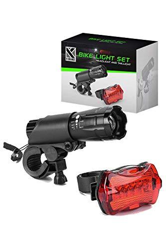 K-Brands Set Luces Bicicleta- LED Luces Bicicleta Delantera y Trasera - 200 Lúmenes, Luz de Seguridad en Carretera y Ciclismo Nocturno - Ideal para Todas las Bicicletas