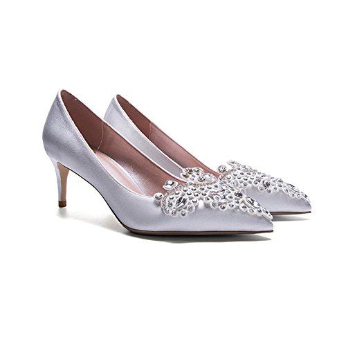 YIXINY Escarpin LH-2884 Chaussures Femme Soie + PU Strass Incrusté À La Main Amende Talon Pointu La Bouche Peu Profonde Mariage Talons Hauts Argent