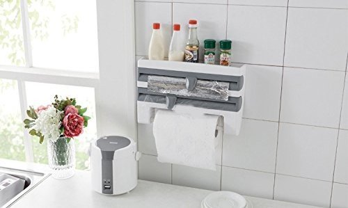 Jannat 3 in 1 Kitchen Triple Paper Dispenser & Holder Paper/ Foil/ Cling Wrap - 3 in 1 Wrap Center Holds Silver Foil, Plastic Wrap, and Paper Towels  available at amazon for Rs.599