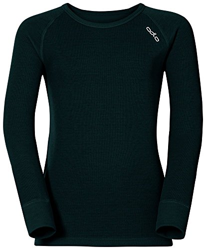 Odlo Jungen Funktionsunterwäsche Langarm Crew Neck Warm, Black, 128, 10459 (Boys Langarm-shirt Black)