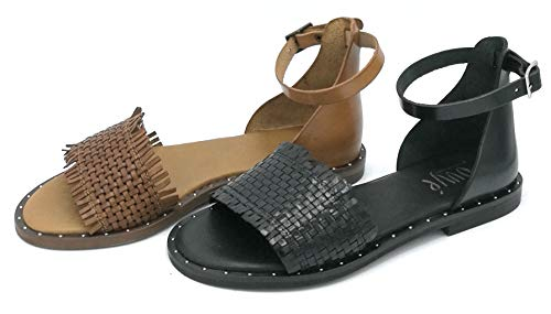 OVYE LU320 Sandalo Pelle Intrecciata cuoionero Cinturino Caviglia Borchie Suola - Taglia Scarpa 39 Colore Cuoio