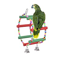 Pet Parrot Wooden Swing Toy, Ferris Wheel Hanging Chewing Toy for Bird Parakeets Macaws Cockatoos Chinchillas Lovebird