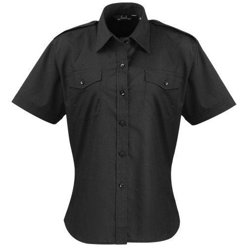 Blusa de piloto de manga corta para mujer / para mujer / Camisa de trabajo lisa (16 US) (Negro)
