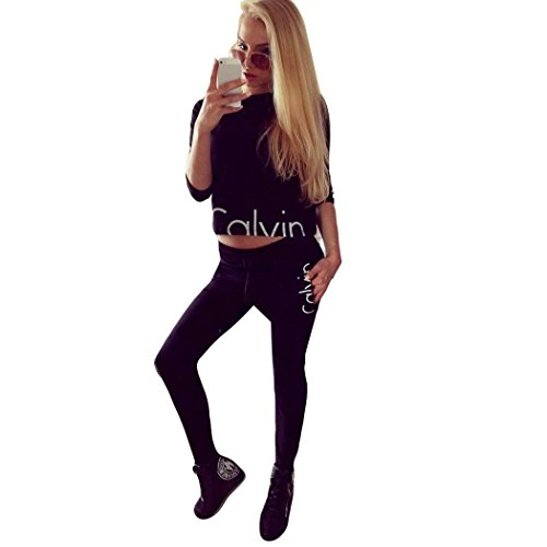 cooshional Femme Ensemble Sweat-Shirt Pantalon Jogging Survêtement 2pcs imprimé sportwear Noir
