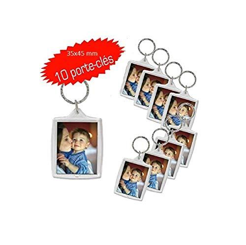 10 Transparente Acryl Foto Schlüsselanhänger -35x45 mmLeerer Schlüsselbund - Brieftaschenfreundlicher Schlüsselring für Benutzerdefinierte personalisierte Eingefügte Bilder - Espace Beaux Arts