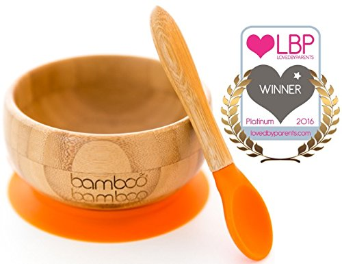 baby-suction-bowl-and-matching-spoon-set-suction-stay-put-feeding-bowl-natural-bamboo-orange
