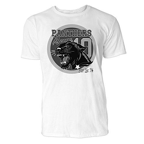 Sinus Art ® Herren T Shirt Panthers Team 10 ( SchwarzWeiss ) Crewneck Tee with Frontartwork (Crewneck Panther)