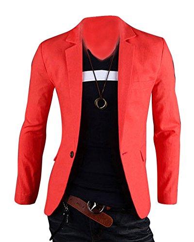 Herren Anzug Business Slim Fit Hochzeit Jacke Lässige Sakko Blazer Orange M