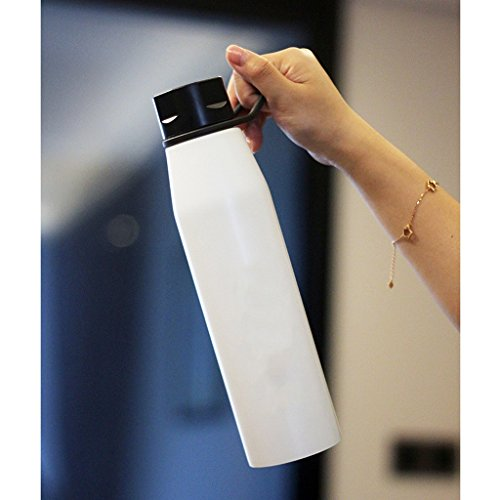 La tasse de de sports de grande capacité hommes et femmes grande bouteille d'eau extérieure d'acier inoxydable voiture portative avec la tasse de thé facilement ( Color : Blanc )