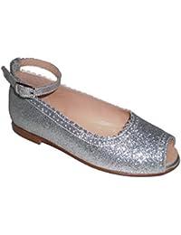 Merceditas Niña Glitter y piel de 1ª Calidad, Calzado infantil Made in Spain, garantia de calidad.