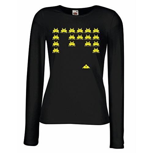 Weibliche Langen Ärmeln T-Shirt Weinlese pc Maniacs lustige Gamergeschenke lustige Gamerhemden (Large Schwarz ()