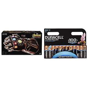 Marvel Avengers - Guantelete electrónico articulado (Hasbro E0491EU4) con Duracell - Ultra AA con Powerchek, Pilas Alcalinas (paquete de 12) 1.5 Voltios LR06 MX1500
