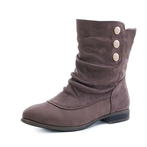 Damen Schlupf Stiefeletten Boots in Lederoptik mit Reißverschluss Khaki Wildlederoptik