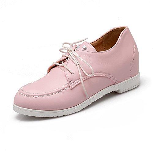 AllhqFashion Damen Rein Pu Mittler Absatz Rund Zehe Schnüren Pumps Schuhe Pink